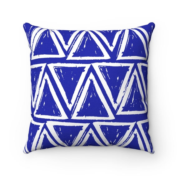 OUTDOOR Throw Pillow . Azure Blue Outdoor Pillow . Blue patio cushion . Modern Geometric Pillow Triangle . 16 18 20 inch . Rectangle Pillow