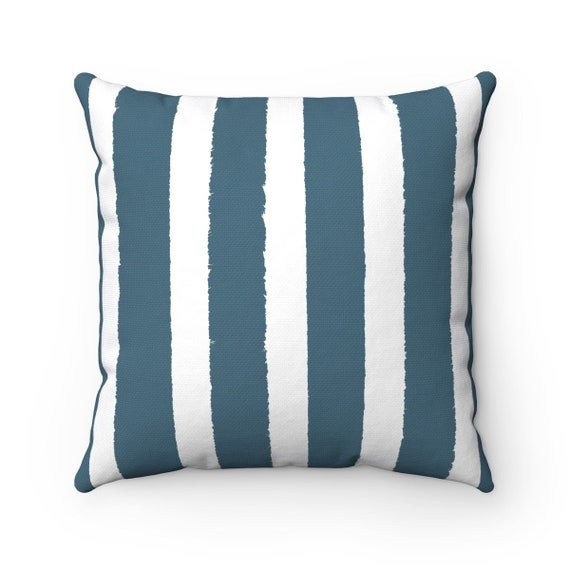 Teal Striped Throw Pillow . Teal Pillow . Teal blue Lumbar Pillow . Teal Striped Pillow . Teal and White Cushion . 14 16 18 20 26 inch