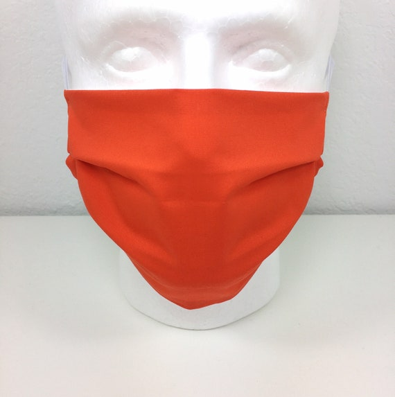 Solid Red Orange Face Mask - Adjustable Adult Fabric Face Mask with Pocket for Filter