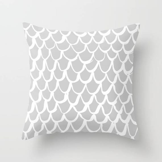 Silver Mermaid Throw Pillow . Grey and White Pillow . Gray Cushion . Grey Mermaid Pillow . Gray Pillow . Mermaid Cushion 14 16 18 20 inch