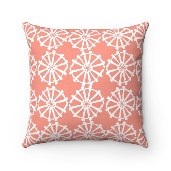 OUTDOOR Throw Pillow . Peach Outdoor Pillow . Peach patio cushion . Modern Geometric Pillow Wheel . 16 18 20 inch . Lumbar Pillow