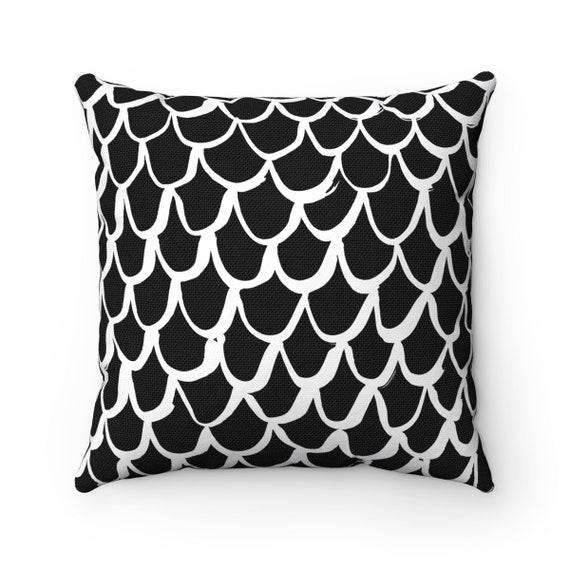 Black and White Mermaid Throw Pillow . Lumbar Pillow . White Cushion . Mermaid Pillow . Black & White Pillow . Lumbar 14 16 18 20 26 inch