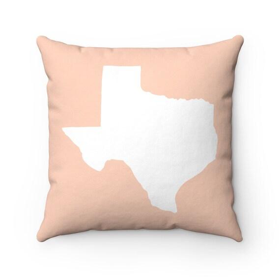 Pale Peach Texas Throw Pillow . Peach Texas Pillow . Modern Peach Pillow . Texas Cushion  Texas State Pillow  Texas Gift 14 16 18 20 26 inch