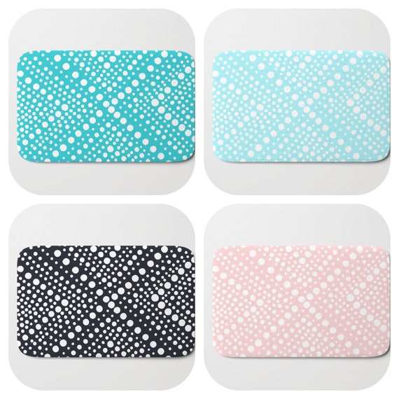 Bath Mat - Turquoise Bath Mat - Aqua Bath Mat - Bath Rug - Blush Pink Shower Mat - Wheel Rug - Black and White Rug - Black Memory Foam Mat