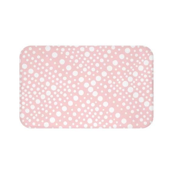 Blush Bath Mat . Blush Pink and White Bath Mat  . X dot Bathroom Rug . Pale Pink Shower Mat
