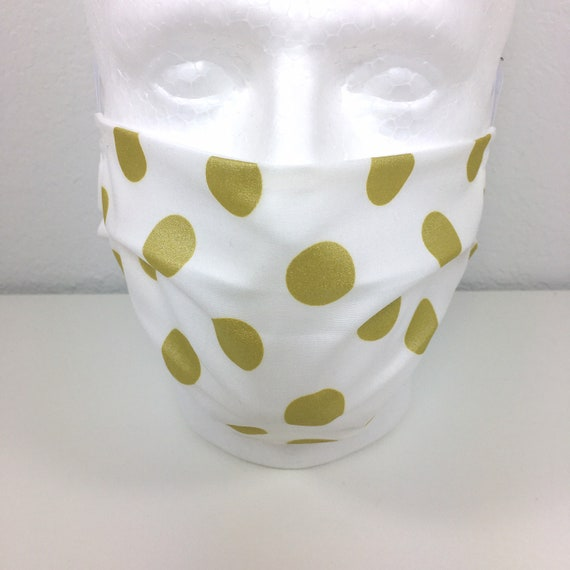 Gold Polka Dot Child over 10 - Tween - Teen - Adult Face Mask - Adjustable Fabric Face Mask with Pocket for Filter