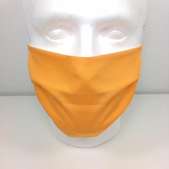 Light Orange Solid Face Mask - Adult Adjustable Fabric Face Mask with Pocket for Filter Mandarin