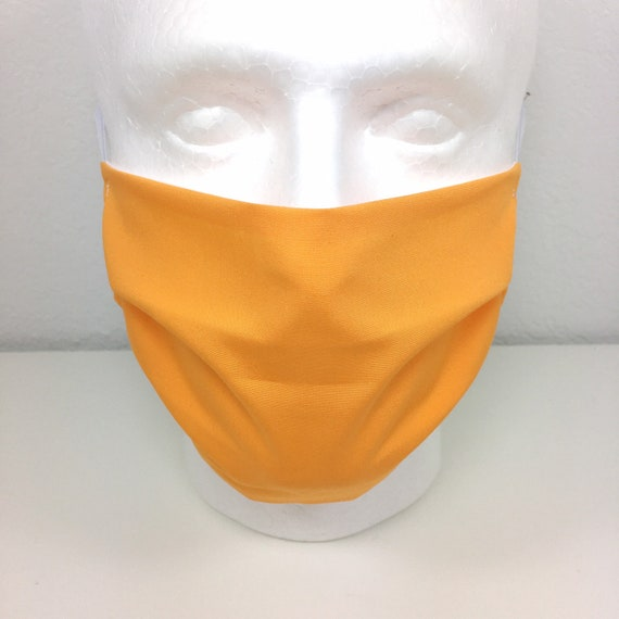 Light Orange Solid Face Mask - Adult / Tween / Teen Adjustable Fabric Face Mask with Pocket for Filter Mandarin