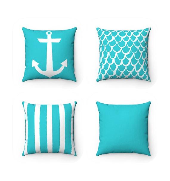 OUTDOOR Throw Pillow . Aqua Outdoor Pillow . Aqua Mermaid Pillow . Aqua Stripe Pillow . Anchor outdoor pillow . Aqua Patio Cushion . Lumbar