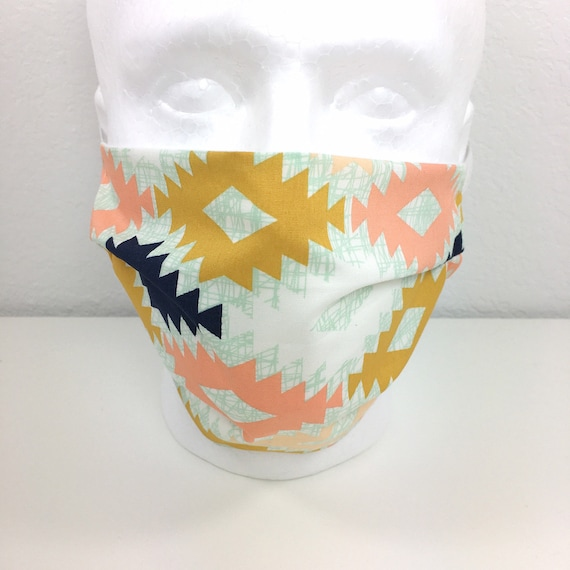 Extra Large Southwest Face Mask - XL Adult Adjustable Fabric Face Mask with Pocket for Filter