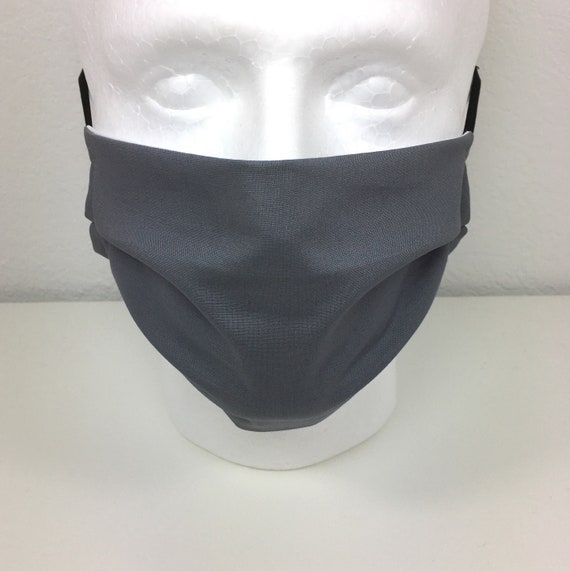 Solid Dark Gray face mask - Adult Adjustable Face Mask with Pocket for Filter