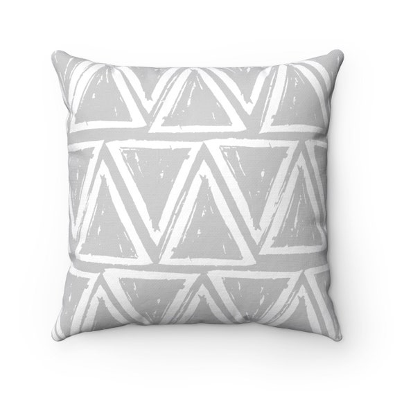 OUTDOOR Throw Pillow . Silver grey Outdoor Pillow . Gray patio cushion . Modern Geometric Pillow Triangle . 16 18 20 inch . Lumbar Pillow