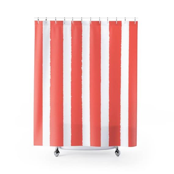 Coral Shower Curtain . Stripe Shower Curtain