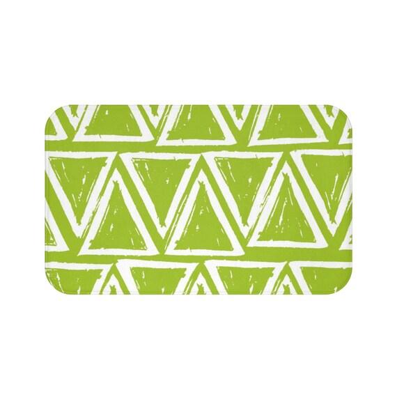 Lime Green Bath Mat . Lime and White Bath Mat  . Triangle Bathroom Rug . Green Shower Mat