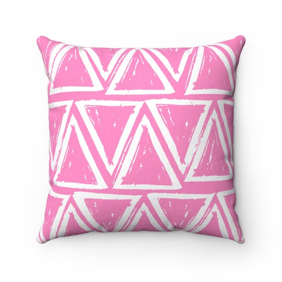OUTDOOR Throw Pillow . Pink Outdoor Pillow . Pink patio cushion . Modern Geometric Pillow Triangle . 16 18 20 inch . Pink Lumbar Pillow