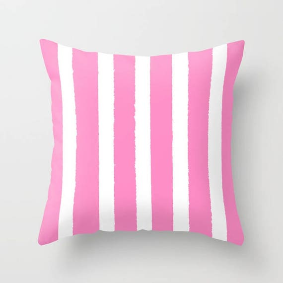 Bubblebgum Pink and White Striped Throw Pillow . Pink Pillow . Pink Lumbar Pillow . Pink Striped Pillow . Pink Cushion 14 16 18 20 inch