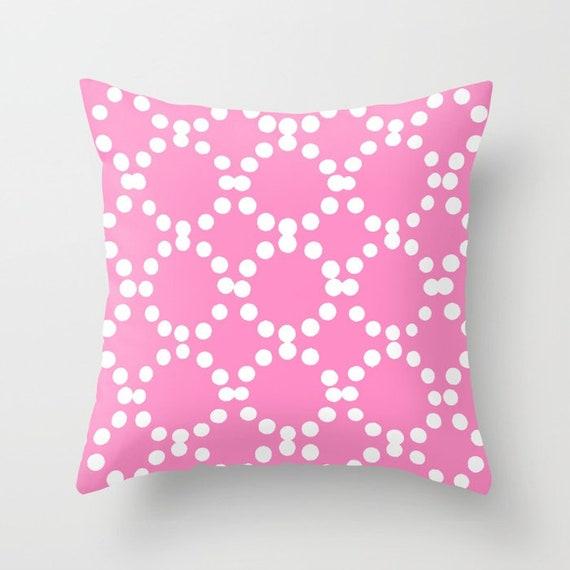 OUTDOOR Throw Pillow . Bubblegum Pink Outdoor Pillow . Pink patio cushion . Modern Geometric Pillow Ring Dot . 16 18 20 inch . Rectangle