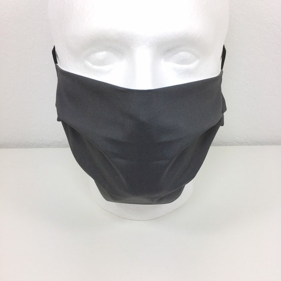 Solid Dark Gray Extra Large Mask - XL Adult Adjustable Face Mask with Pocket for Filter