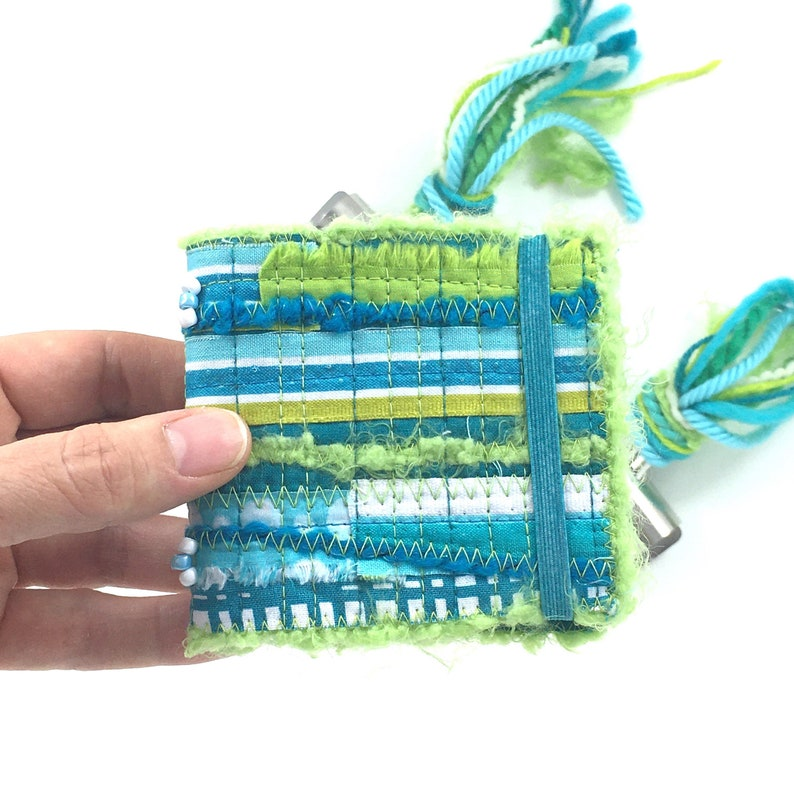 Teal Mini Watercolor Journal . Small Travel Journal . Quilted image 0