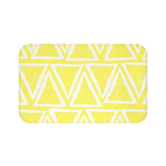 Lemon Yellow Bath Mat . Yellow and White Bath Mat  . Triangle Bathroom Rug . Yellow Shower Mat