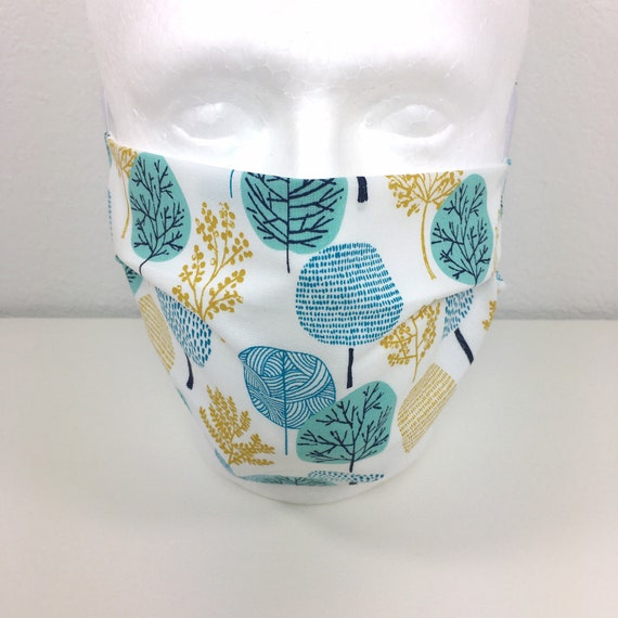 Teal Trees Extra Large Face Mask - XL Adult Adjustable Fabric Face Mask with Pocket for Filter