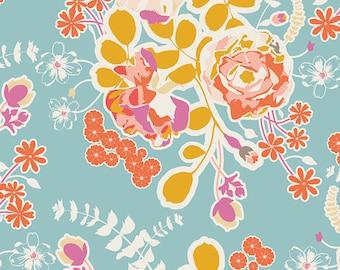 Orchard Blossom Spring - Aqua Floral Fabric - Art Gallery Fabrics - Sweet As Honey - SAH-1600 - Fabric by the yard