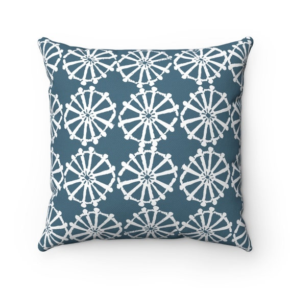 OUTDOOR Throw Pillow . Teal Outdoor Pillow . Teal patio cushion . Modern Geometric Pillow . Teal Wheel . 16 18 20 inch . Lumbar Pillow