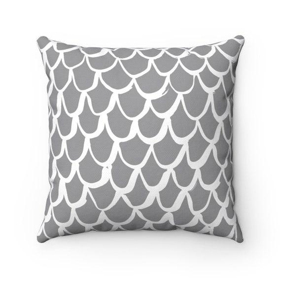 Grey Mermaid Throw Pillow . Gray and White Pillow . Grey Cushion . Mermaid Pillow . Grey Pillow . Gray Cushion 14 16 18 20 inch . Slate Gray