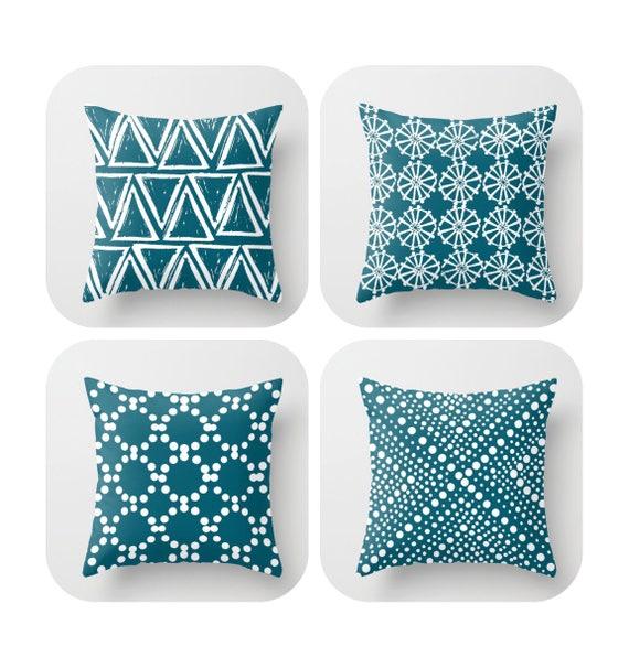 Oceanside Throw Pillow . Modern Throw Pillow . Oceanside pillow . Geometric triangle dot . Oceanside Cotton Throw Pillow 14 16 18 20 inch