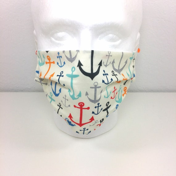 Nautical Anchors Face Mask  - Adult Adjustable Fabric Face Mask with Pocket for Filter