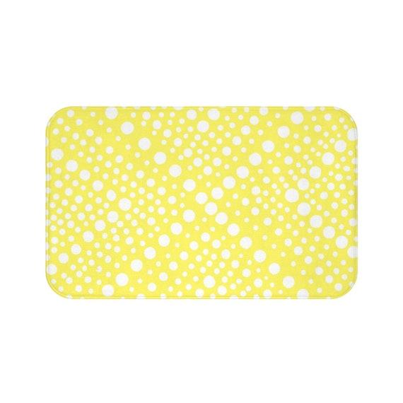 Lemon Yellow Bath Mat . Yellow and White Bath Mat  . X dot Bathroom Rug . Yellow Shower Mat