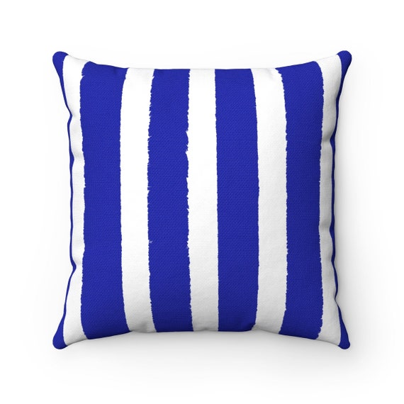 Azure Blue and White Striped Throw Pillow . Blue Pillow . Blue Lumbar Pillow . Cobalt Striped Pillow . Sapphire Cushion 14 16 18 20 26 inch