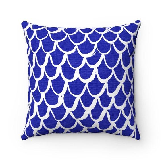 Azure Blue Mermaid Throw Pillow . Blue Pillow . Cobalt Cushion . Mermaid Pillow . Sapphire Pillow . Blue Bolser . 14 16 18 20 26 inch