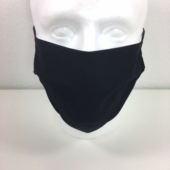 Extra Large Solid Black Face Mask - XL Adult Adjustable Fabric Face Mask with Pocket for Filter - Washable and Reusable
