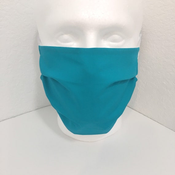 Extra Large Solid Teal Face Mask - XL Adult Adjustable Fabric Face Mask with Pocket for Filter