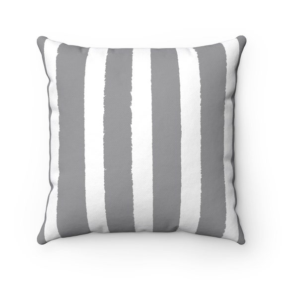 Grey Striped Throw Pillow . Grey Pillow . Gray Lumbar Pillow . Gray Striped Pillow . Gray Cushion 14 16 18 20 26 inch . Gray and White