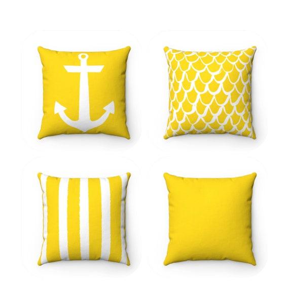 OUTDOOR Throw Pillow . Yellow Outdoor Pillow . Mermaid Patio Cushion . Anchor Pillow . Stripe Pillow . 16 18 20 inch . Yellow Lumbar Pillow