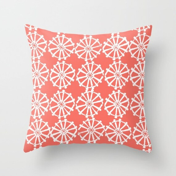 OUTDOOR Throw Pillow . Coral Outdoor Pillow . Coral patio cushion . Modern Geometric Pillow . Coral Wheel . 16 18 20 inch . Lumbar Pillow