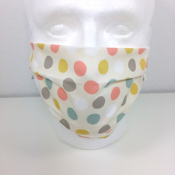 Polka Dot Adult Face Mask - Adjustable Fabric Face Mask with Pocket for Filter