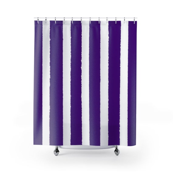 Violet Shower Curtain . Purple Striped Shower Curtain