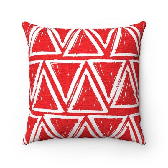 OUTDOOR Throw Pillow . Red Outdoor Pillow . Red patio cushion . Modern Geometric Pillow Triangle . 16 18 20 inch . Scarlet Lumbar Pillow