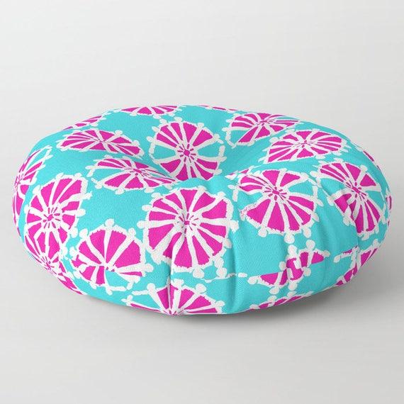Magenta floor cushion . Geometric Floor pillow . Aqua Round cushion . Aquamarine Pillow . Round pillow . 26 inch pillow . 30 inch pillow