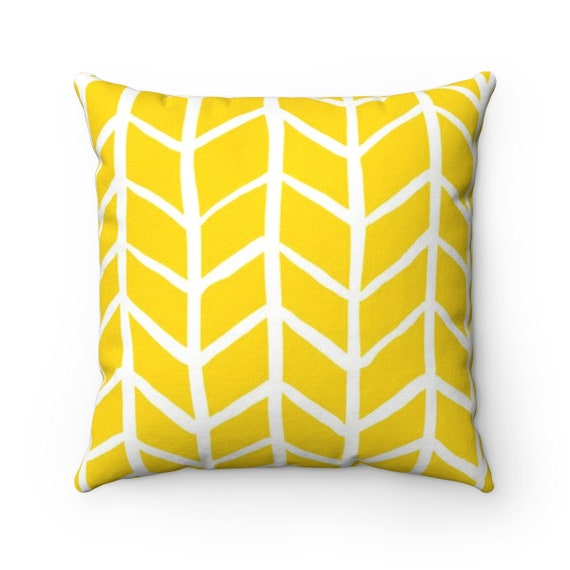 OUTDOOR Throw Pillow . Yellow Outdoor Pillow . Yellow Herringbone Patio Cushion