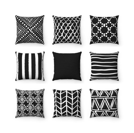 Black Throw Pillow . Black and White Pillow . Mix and Match