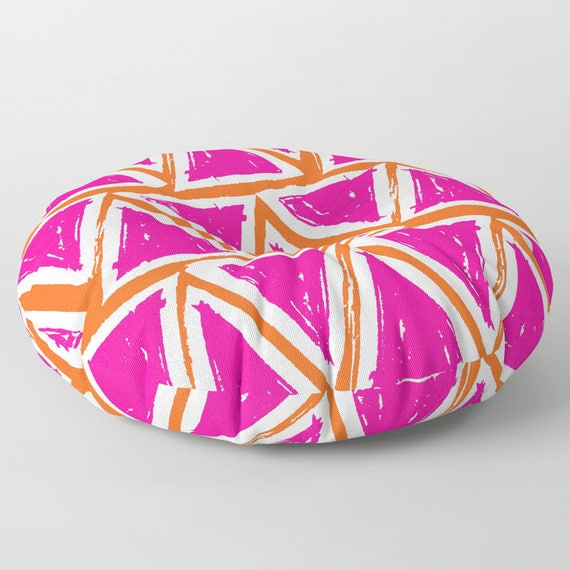 Magenta floor cushion . Round cushion . Pink Pillow . Round pillow . Triangle Geometric Floor pillow . 26 inch pillow . 30 inch pillow