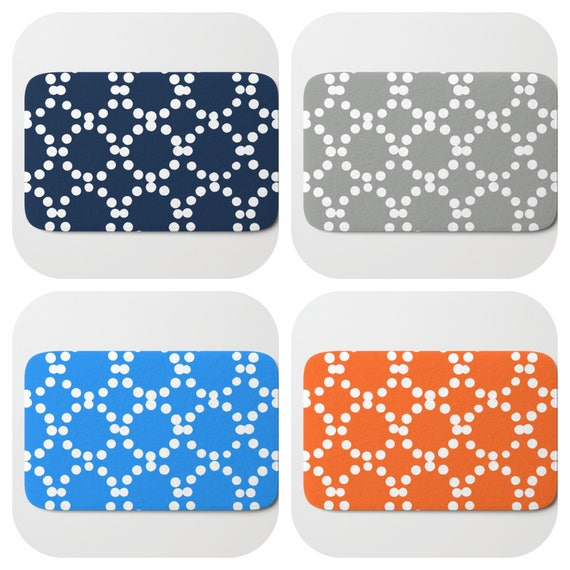 Bath Mat - Navy Bath Mat - Blue Bath Mat - Bath Rug - Orange Shower Mat - Ring dot Rug - Gray Rug - Circle Rug - Grey bath Rug