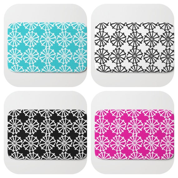 Bath Mat - Black and white Bath Mat - Magenta Bath Mat - Bath Rug - Aqua Shower Mat - Wheel Rug - Navy Rug - Magenta Pink Memory Foam Mat