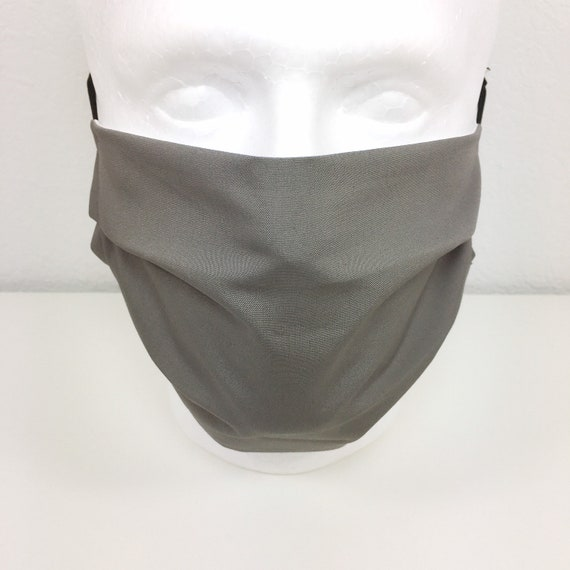 Extra Large Mask Solid Grey Face Mask - XL Adult Adjustable Face Mask with Pocket for Filter