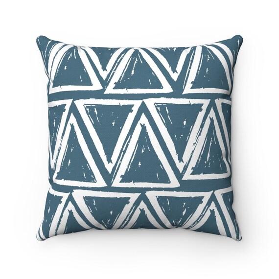 OUTDOOR Throw Pillow . Teal Outdoor Pillow . Teal patio cushion . Modern Geometric Pillow Triangle . 16 18 20 inch . Teal Lumbar Pillow
