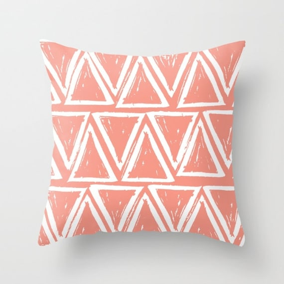 OUTDOOR Throw Pillow . Peach Outdoor Pillow . Peach patio cushion . Modern Geometric Pillow Triangle . 16 18 20 inch . Apricot Rectangle